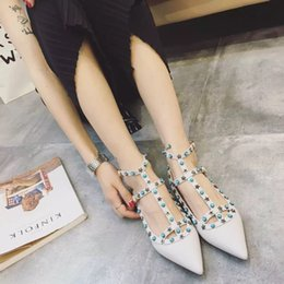 Wholesale Making Knots - b107 40 41 42 tailor made genuine leather star gem pointy flats shoes luxury designer red white nude black