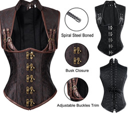 Wholesale Steel Shaper - 2017 Sexy Women Autumn Punk Corsets &Bustiers Shaper Slim Body Leather Steel Boned Corset Plus Size Gothic Style V-neck Fashion Good Quality