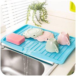 Wholesale Vegetable Drainer - Hot new gadgets Kitchen Sink Drain Rack Dish Draining Board tableware tray drainer Vegetable & Fruit Shelf Drying Rack