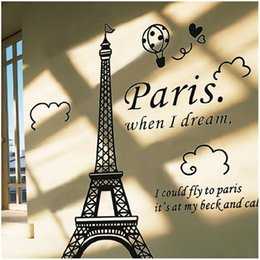 Wholesale Eiffel Tower Stickers - Paris Eiffel Tower Removable Vinyl Art Decal Mural Wall Sticker For Home Living Room Bedroom Bathroom Kitchen 1 Piece