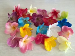Wholesale Wholesale Plumeria Flowers - High Quality PU Real Touch Plumeria Flower Heads Wedding Bridal Hair Decor Artificial Flower Heads Free Shipping