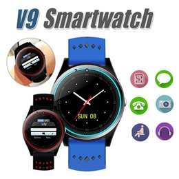 Wholesale Gps Built Camera - V9 Bluetooth Smart Watch Smartwatch Built-in SIM Card Slot Call Sync Watch GPS Smart Watches Can Record Sleep State For Android With Package