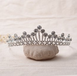 Wholesale Girls Pageant Crowning Dresses - The Actual Shooting Ladies Girl Tiara Crown Jewelry Pageant New Rhinestone Sparkling Evening Prom Party Dresses Accessories Supplie