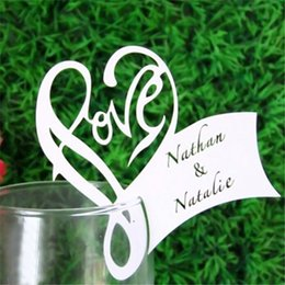 Wholesale Name Decor - Wholesale- 50Pcs Lot Love Heart Place Escort Table Mark Wine Glass Name Place Card Festival Wedding Party Bar Decoration DIY Cup Decor