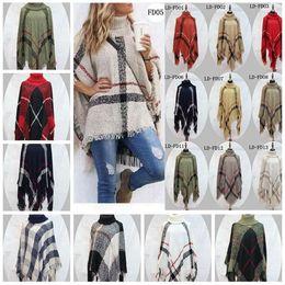 Wholesale Cardigan Sweater Fashion - Plaid Poncho Women Tassel Blouse 135*135CM Knitted Coat Sweater Wraps Knit Scarves Tartan Winter Cape Grid Shawl Cardigan Cloak OOA2903