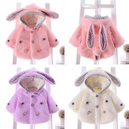 Wholesale Cute Hoodie Ears - Newborn Baby Kids Girls Warm Big Ears Flannel Hoodie Hooded Jacket Coat Outwear 3 Colour 4 Size
