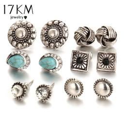 Wholesale Ear Cuffs Stones - 17KM 6pairs  set Vintage Crystal Heart Earrings For Women Stone Beads Ear Cuff Piercing Ears Clips Steampunk Love Party Earring