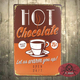 Wholesale Plaque Designs - Vintage wall decor hot chocalate Let us warn you up painting wall design sticker Wall plaque garden Posters F-63 160909#