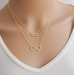 Wholesale Double Infinity - Wholesale-2016 Hot Fashion Choker Chain Necklace 18k Gold plated Bisuteria Mujer Double Infinity Pendants Necklace For Women N296