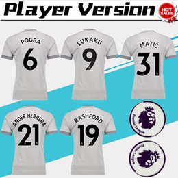Wholesale Patch Player - Player Version POGBA third Soccer Jersey 17 18 have Premier League patches LUKAKU 3rd soccer shirt 2018 #7 ALEXIS Football uniforms Sales