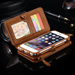 Wholesale Iphone 5s Case Piece - Two-Piece Wallet Pouch Case With 18 Card Slot For iPhone 7 Plus 6 6S Plus 5S SE For Samsung Galaxy Note 5 S6 Edge Plus Retro Bag PU Leather