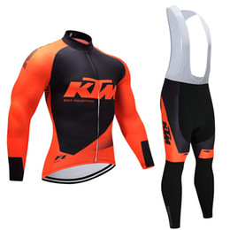 Wholesale Windproof Cycling Pants - 2017 ORANGE KTM cycling jersey pants set Ropa Ciclismo Winter thermal fleece windproof cycling wear bike clothing suit