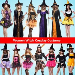 Wholesale Ladies Red Dress Hats - Sexy Women Witch Cosplay Costume Lady Female Clothing Set With Hat Carnival Halloween Fancy Dress Party Decoration