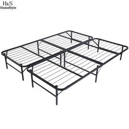 Wholesale Wood Bedroom Furniture - Homdox King Size Metal Folding Platform Bed Frame Base Mattress Foundation Black