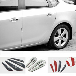 Wholesale Vinyl Strip Door - 4PCS Car Carbon Fiber Protector Auto Car Rearview Mirror Side Door Bumper Carbon Fiber PU Surface Anti-Rub Door Edge Strips