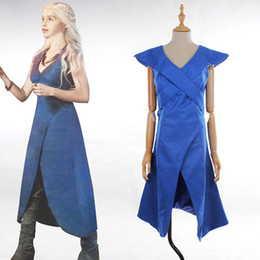 Blaues sexy spiel online-Sexy Erwachsene Frauen Blue Game of Thrones Cosplay Kleid Halloween Daenerys Targaryen Mutter der Drachen Kostüm Kleid