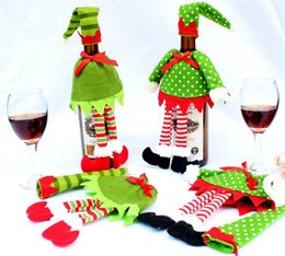 Wholesale Cloth For Decoration - Hot Sale 2PCS Xmas Christmas Elf Red Wine Bottle Sets Cover with Christmas Hat & Clothes for Christmas Dinner Decoration Home Halloween Gift
