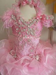 Vestido del desfile de plumas rosa chicas online-2019 Moda Rosa vestido de fiesta Ruffle Girls Vestidos del desfile Lujo Bead Crystal Fur Feather Glitz Niños Vestidos de fiesta de cumpleaños Vestido de niña de flores