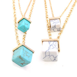 Wholesale Turquoise Necklace For Men - White Marble Faux Stone Pendant Necklaces Cube Double gold plated Necklace statement necklaces for women and men