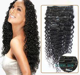 Wholesale Virgin Hair Deep Wave Clips - 7A 1B# off black Clip In Human Hair Extesnison 70g 100g 140g 160g 180g 7 8 10pcs Virgin Brazilian deep wave Clip In Hair Extensions dhl free
