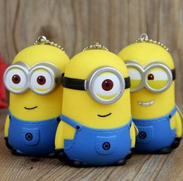 Wholesale Keyring Minions - 3D Minions KeyChain Key Chain Ring Keyring The Cartoon Movie Despicable Me Action Figure Boys Girls Christmas Promotion Gift Free DHL