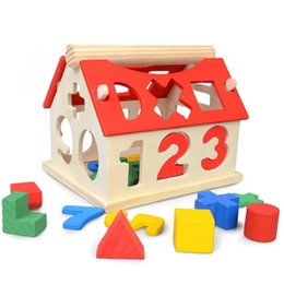 Wholesale Toy Wooden House Block - number of children a little digital house childhood educational toys Building Blocks Toys Kids Montessori Learning Math Toys
