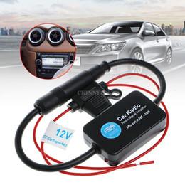 Wholesale 12v Car Antenna - DHL 50PCS 12V 25dB Car FM Radio Antenna Amplifier Booster with Indicator Model ANT-208 MEL