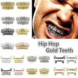 Wholesale Fashion Teeth - 2017 Fashion Hip Hop Gold Plated Single ICED OUT CZ Teeth GRILLZ Bottom Tooth Caps Hip Hop Bling NEW with Sillicone Diamonds Mode