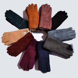 Wholesale Leather Mitten Gloves - Sheepskin Gloves Fur Leather Gloves Mittens Sheep Leather Gloves Solid Color Winter Outdoor Warm Glove LJJO3142