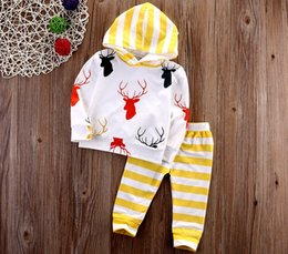 Wholesale Three Piece Boys Hooded Outfit - XMas 2pcs deer set Ins Toddler Baby Girls Boys Clothes Set New Cute Animals Cotton Hooded Top Pants Outfits Deer Clothing Set