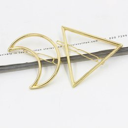 Wholesale Dhl Jewellery - Womens Vintage Gold Tone Metal Moon Triangle Large Statement Hair Clips Hairpin Gift Alloy Head jewellery Barrettes Hair Jewelry Free DHL