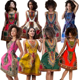 Wholesale Vintage Indian Clothing - 8 Colors Women Summer Dashiki Dress Robe Sexy Ladies African Printed Dresses Sundress Short Vintage A Line Dress Clothing Indian