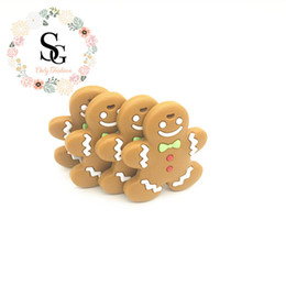 Wholesale Gingerbread Man Wholesale - 2017 Lot of 10 pcs new christimas teether,silicone gingerbread cookie teether,food grade BPA free silicone gingerbread man teether