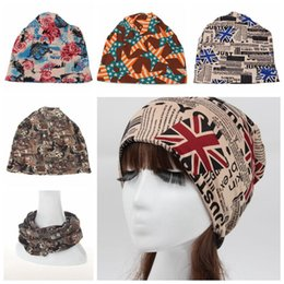 Wholesale hip hop bandanas - Fashion multifunction printing letter stretch-cotton hat outdoor women's sunscreen piles of hat collars hip-hop bandanas hair band cap