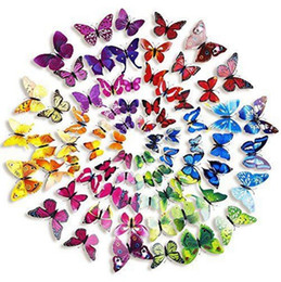 Wholesale Stickers For Craft - 3D Colorful Butterfly Wall Stickers DIY Butterflies Kids Home Decor Art Decor Crafts Wall Stickers 200pcs bag OOA2415