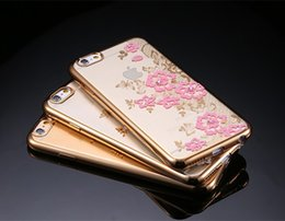 Wholesale Romantic Iphone Cases - Romantic Flower Pattern Bling Diamond Case Plating Gold Clear Soft TPU Back Cover for Iphone 5 6 7 7plus Samsung S6 edge S7