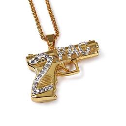Wholesale 2pac Gun - Hip Hop Mens Rap 18K Gold Plated Bling 2PAC Gun Pendant Long Body Chains Necklaces & Pendants For Men Women Jewelry Accessories