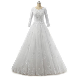 Wholesale princess photos - Bateau Neck Lace Tulle Wedding Dress With 3 4 Sleeves 2018 Appliques Wedding Gowns Lace Up