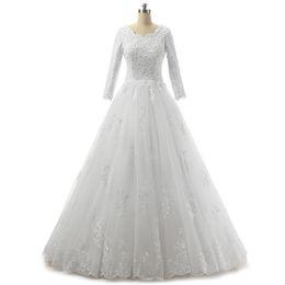 Vestidos de casamento apliques de renda on-line-Bateau Neck Lace Tulle Vestido De Noiva Com Mangas 3/4 2019 Apliques De Casamento Vestidos Lace Up