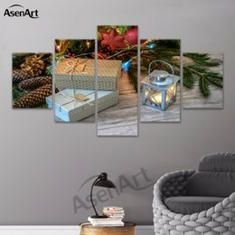 Wholesale Tree Life Artwork Paintings - Wall Art Christmas Tree Snowflake and Gifts Merry Christmas Canvas Painting Artwork Picture for Dinning Room Framed Dropshipping