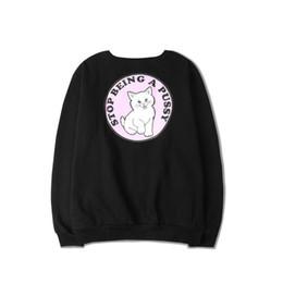 Marca de marea de la calle de hip-hop europea y americana hombres y mujeres ocasionales gato gatito rosa blanco sudaderas dedo medio barato desde fabricantes