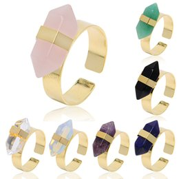 Wholesale Pointed Stone Ring Wholesale - gold Plated Hexagonal Prism Rings Gemstone Rock Natural Crystal Quartz Healing Point Chakra Stone Charms Opening Rings for women men