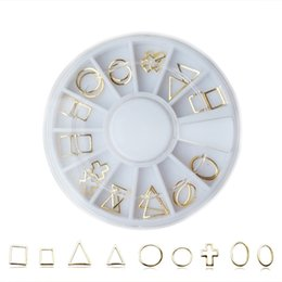 Wholesale Metal Nail Studs - latest Japanese wheel nail art rivets studs gold 3D alloy curved metal frame for nails nail art Vacuum ring