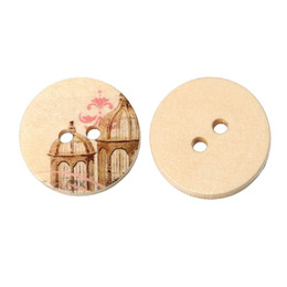 Jóia com botão de madeira on-line-Acces atacado Mixed Natural Cor Inferior Padrão de Impressão Rodada Botão De Madeira 25mm-50 pcs Botão De Costura De Madeira Botão Jóias