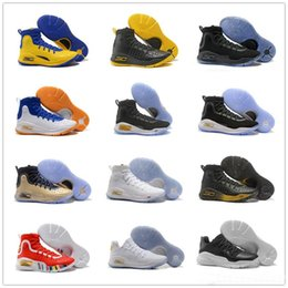 Wholesale Mvp Shoes - Stephen Curry 4 IV Basketball Shoes Mens Curry 4 Away White Black Gold Championship MVP Parade Finals Youth Training Sports Sneakers US7-12