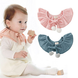 Wholesale Toddler Hair Ties - Wholesale- Cute Girls Hair Ball Double Bow Tie Dickie Toddler Baby Girl Kid Fake False Collar Baby Lace Up Cotton Detachable Tie Choker