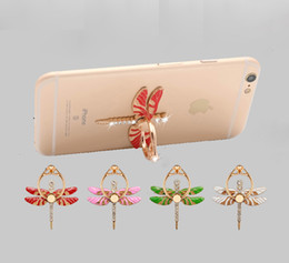 Wholesale Fold Mobile Phones - Dragonfly Diamond Cell Phone Holders 360 Degree Rotate Finger Ring Phone Stand Universal Multifunctional Folding Mobile Phone Mount