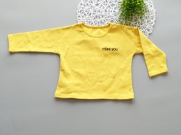 Wholesale Korean Girls Clothing - 2017 Children's Clothing New Korean Version Of The Autumn Fashion Boys And Girls T Tide Fan Cotton Embroidered Letters T-shirt C-179