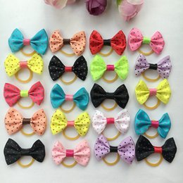 Wholesale Shop Wholesale Spring - 100pcs lot Fashion Handmade Pet Dog Hair Accessories Puppy Hair Bows Cat Hair Rubber Bands Boutique Pet Shop Supplies