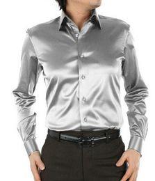 Wholesale Mens Gold Dress Shirts - Quality Mens Shirts Fashion Satin Silk Men Long Sleeve Shirt Solid Color Men Dress Shirt masculina